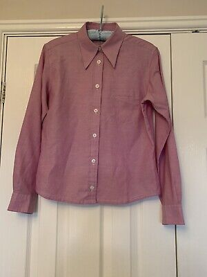 Womens Ben Sherman Shirt Size 12 Pink Long Sleeve Dagger Collar Mod Skin Girl • 4£