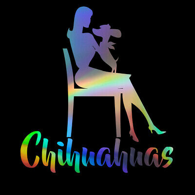 2PCS Woman And A Dog Chihuahua Vinyl Sticker Car Bumper Motorcycle Window Decal • 2.31£