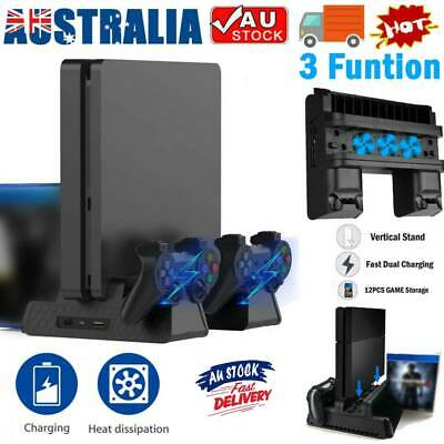 AU40.69 • Buy For PS4 Pro / Slim Vertical Stand + Cooling Fan Controller Charging Dock Station