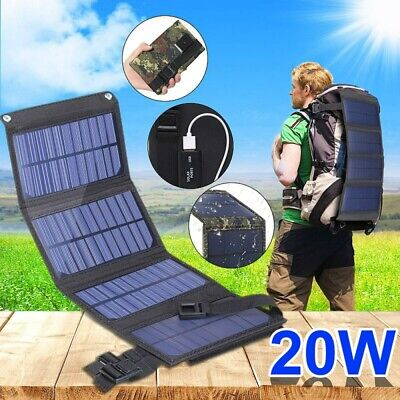 £18.59 • Buy 20W USB Solar Panel Folding Power Bank Outdoor Camping Hiking Battery Charger UK