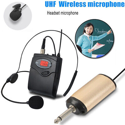 UHF Wireless Head-Mounted Microphone MIC System Headset W/ Receiver Transmitter • 18.79£