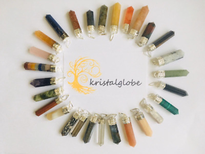 Natural Quartz Chakra Crystal Healing Gemstone Pendant Point Cut Reiki Necklace • 3.99£