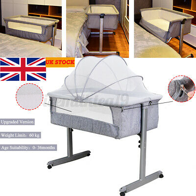 Side Sleeping Bedside Crib Baby Bed Cot With Mattress Mosquito Net Wheels UK  • 71.99£