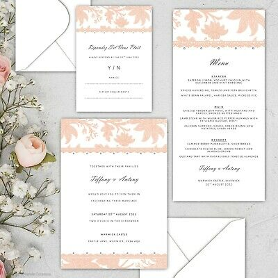 Lace Pearl Bespoke Luxury Wedding Stationery - 36 Colours Available • 120£