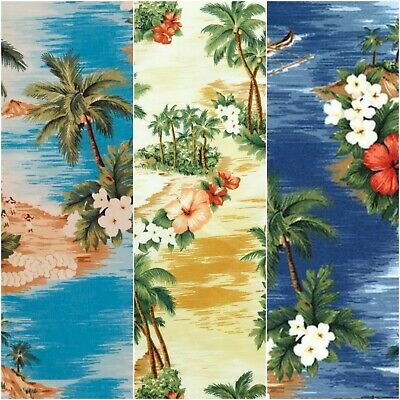 Hawaiian Tropical Island 100% Cotton Poplin Craft Fabric By Rose & Hubble Floral • 4.45£
