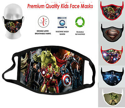 Children Kids Marvel Heroes Face Mask Washable Breathable Reusable Double Layer • 3.94£