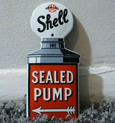 $ CDN174.24 • Buy Vintage Shell Gasoline Porcelain Sign Gas Oil Metal Station Pump Plate Ad Clam