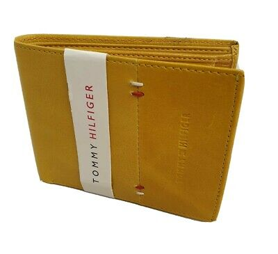 Brand New Tommy Hilfiger Men's 100% Leather Bifold Wallet. Yellow. *Coin Pocket* • 23.23£
