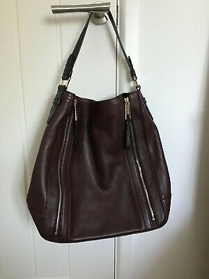 M&S Autograph Aubergine Colour Real Leather Bag • 35£