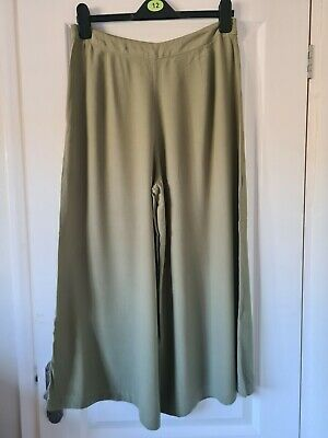 New Look Khaki Wide Leg Cropped Trousers Size 12 • 4.50£