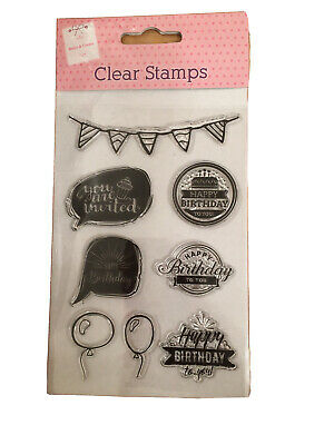 The Works Make & Create 8 Clear Stamps Happy Birthday Balloons Party Craft • 4.99£