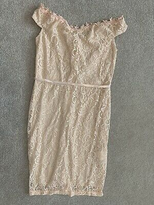 Womens Pink Dress Lace Party Occasion Size S/M 8/10 • 4.99£
