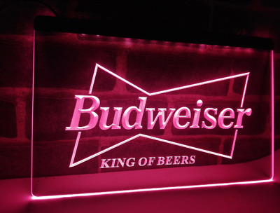 Budweiser Neon LED Light Sign Bar Pub **QUALITY** Display Beer Shop Drinks King • 13.99£