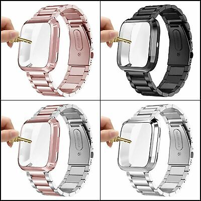 $ CDN30.93 • Buy Bands For Fitbit Versa,Versa 2 Metal Bracelet Wristband W/ Protective Cover Case