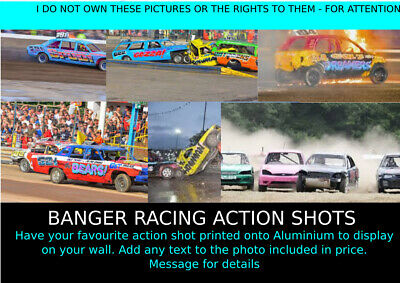 Banger Racing Stock Cars Motorsport Print Your Own Action Prints Metal Sign • 6£