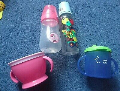 Tommee Tippee Beaker Bottles Weaning Bundle Set Pink And Blue Mickey Mouse  • 3£