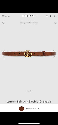 AU409.57 • Buy Authentic Skinny Gucci Leather Belt With Double G Buckle