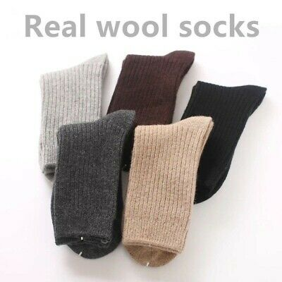 $18.99 • Buy 5 Pack Men 95%Wool Cashmere Crew Socks Thick Thermal Boot Gentleman Dress Solid