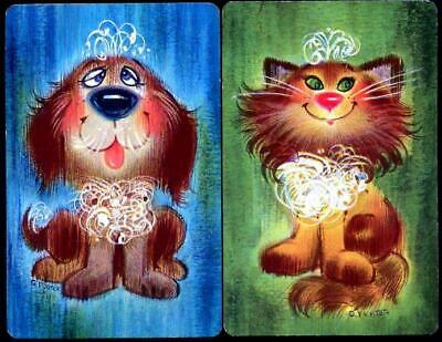 AU4 • Buy Vintage Swap Card Pair Of Dog And Cat Very Pretty Pair Mint Condition