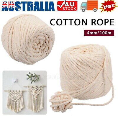 AU11.85 • Buy 100m 4mm Macrame Beige Cord Twisted Rope Hand Craft Natural Cotton String AU