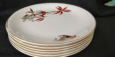 Vintage / Retro 6 BARRATTS Delphatic China 'BAMBOO' 9  DINNER PLATES 1950's • 19.99£