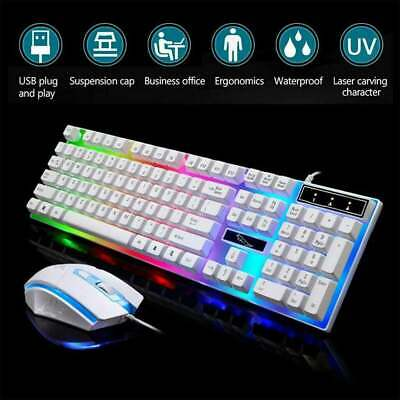 Keyboard Mouse Set For Computer PS4/X Box One 360 Gaming Rainbow RGB LED HOT • 9.49£