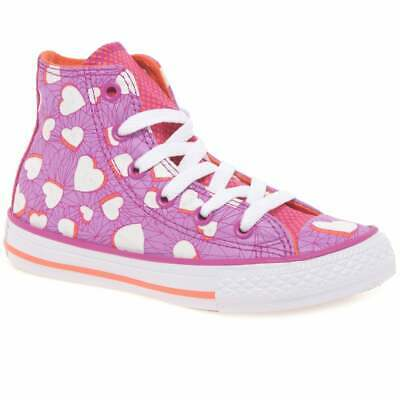 Converse All Star High Top Heart Trainers - Purple - Junior Size UK 5 - BNIB • 22£