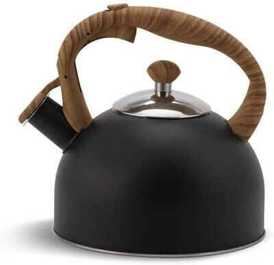 Whistling Kettle Black 2.5 L Stove Top Kettle Whistling Induction Gas Ceramic • 16.99£