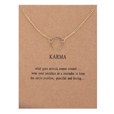 Karma Gold Necklace Various Sentiments Good Luck Charm  Gift Wish • 4.49£
