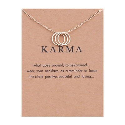 Karma 3 Ring Gold Necklace Various Sentiments Good Luck Charm  Gift Wish • 4.49£