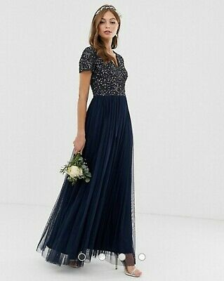 AU40 • Buy Asos Maya V Neck Maxi Navy Dress Size 10 AU
