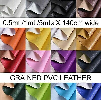 £9.59 • Buy PVC Textured FAUX LEATHER Grained LEATHERETTE Upholstery Fabric  1 Metre X 1.4mt