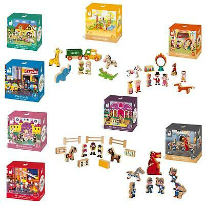 Janod Wooden Mini Story Play Sets, Wooden Blocks Mix And Match Age 3+ • 10.99£