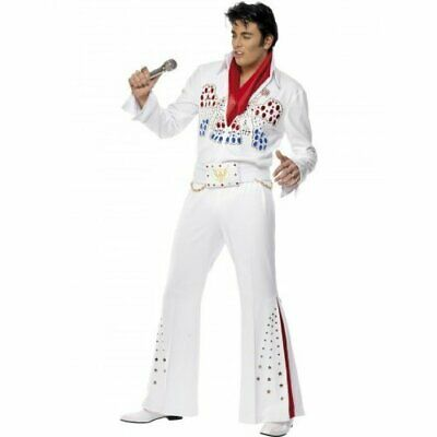Elvis American Eagle Costume, White, With Jumpsuit, Belt & Scarf00 .. COST-M NEW • 64.42£