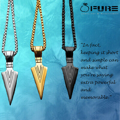 Fashion Stainless Steel Gold Color Arrow Head Pendant Long Chain Necklace Men • 3.99£