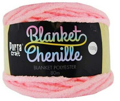 AU3.50 • Buy Chenille Blanket Yarn 100g 80m 12ply Baby Pink (Product # 151495)