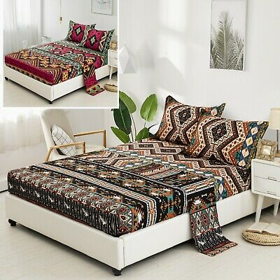 AU37.04 • Buy Mandala Fitted Sheet+Flat Sheet+ Pillowcases Set Double Queen King Size Bedding