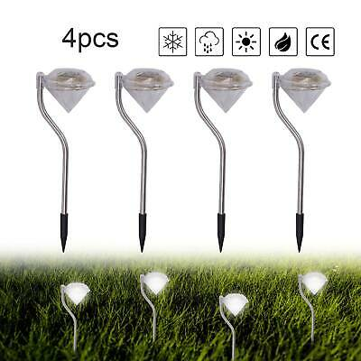 4Pcs Diamond Solar Lights Garden Border Post Outdoor Stainless Steel Xmas Decor • 6.29£