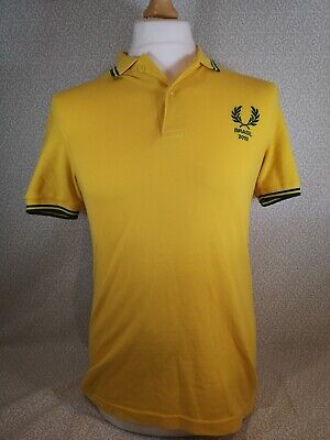 Mens Fred Perry World Cup 2010 LTD Edition Brazil Polo Shirt MADE IN ENGLAND (S) • 25£