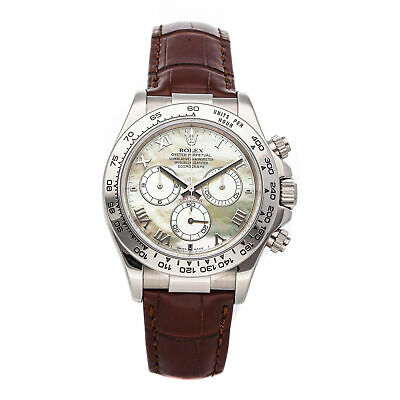 $ CDN32829.21 • Buy Rolex Daytona Auto 40mm White Gold MOP Mens Strap Watch Chrono 116519