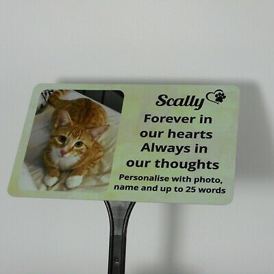 £12.90 • Buy Pet Memorial Plaque Photo Personalised Grave Marker Dog Cat Ground Stake Spike