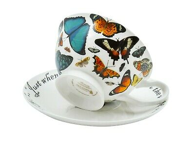Butterfly Tea Cup And Saucer Set / Fine China / 210 Ml (7 Fl Oz) • 16.99£