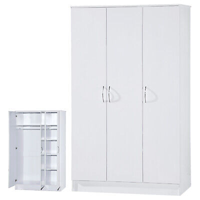 White Gloss 3 Door Soft Closing Wardrobe Large Furniture Unit FREE DELIVERY • 159.99£