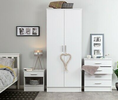 £152.95 • Buy White Gloss 3 PIECE Bedroom Furniture Set - Wardrobe Chest Bedside FREE DELIVERY