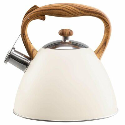 Whistling Kettle 3 L Stainless Steel White Induction  Stove Top Gas Cream Beige • 22.99£
