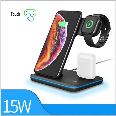 AU34.99 • Buy 15W 3 In1 Wireless Charger Stand QI Fast Charging Dock For Airpods IPhone IWatch