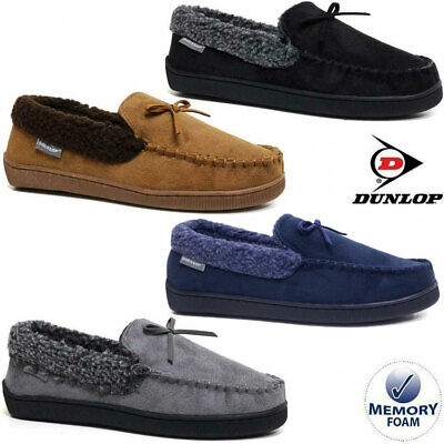 Mens Faux Suede Moccasin Sheepskin Slippers Loafers Warm Lined Shoes Sizes 7-13 • 14.95£