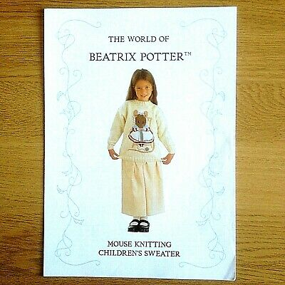 £3 • Buy Dk Knitting Pattern Childrens Girls Beatrix Potter Mouse Sweater Ages 5-12 Years