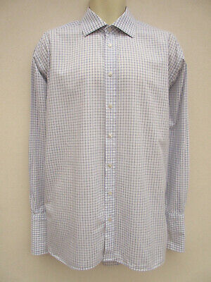 M&S Sartorial - Smart White /Navy Line Check Double Cuff Shirt - Size 16.5  Neck • 8.95£