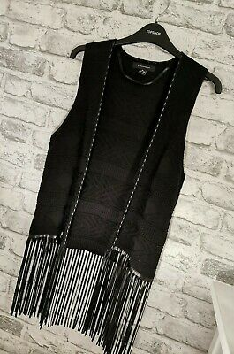 Black Tassle Waistcoat With Leather Trim From Primark Size 10 Festival Boho  • 8.99£